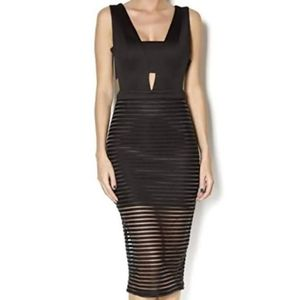 NWT Mustard Seed black mesh cutout cocktail dress